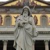 Statue of St. Paul in front of the Basilica which bears his name.