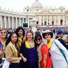 Happy (and a little tired) pilgrims in front of St. Peter's Basilica.