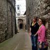 Mom and son model an ally in Assisi.